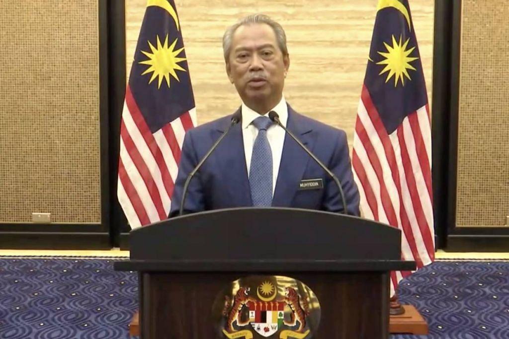 Perdana Menteri Malaysia Tan Sri Muhyiddin Yassin dalam ucapannya yang disiarkan secara langsung pada 2 Mac 2020. Foto: THE STAR