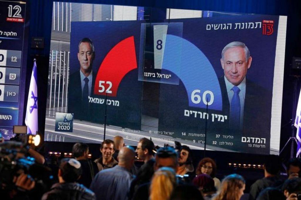 Orang ramai menyaksikan siaran televisyen Channel 13 yang menyiarkan ramalan selepas pengundian ditutup dalam pilihanraya Israel pada 2 Mac.