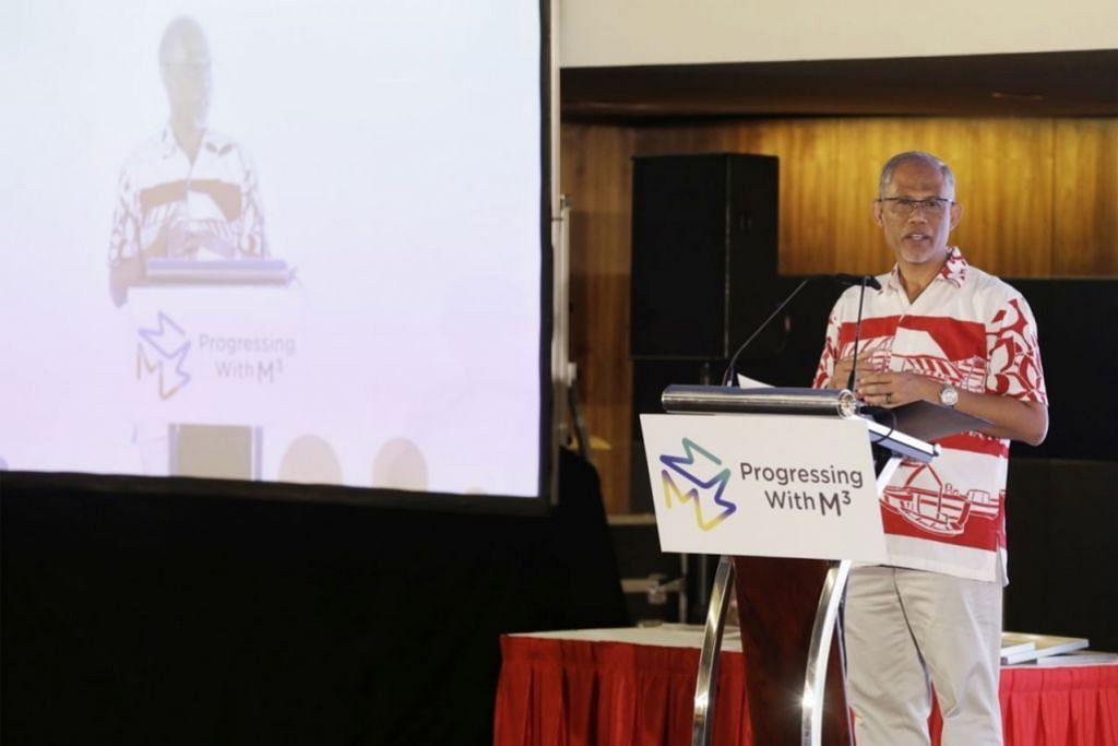 MEMPERKUKUH MASYARAKAT: Encik Masagos hadir dalam forum M3 yang diadakan buat julung kalinya semalam di Pusat Konvensyen Suntec City. - Foto BM oleh AZMI ATHNI