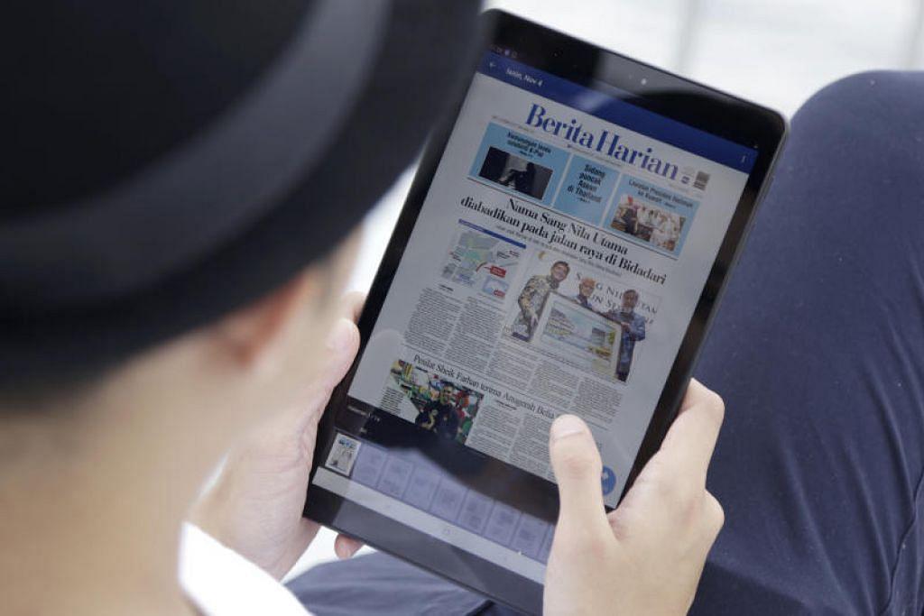 TABLET BERITA: Dilancarkan tahun lalu, Tablet Berita SPH memberi pengguna akses kepada versi elektronik akhbar seperti Berita Harian dan The Straits Times.