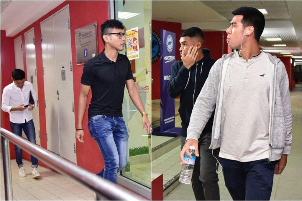 DIDENDA: Foto yang diambil pada 11 Disember 2019 menunjukkan (dari kiri) Joshua Pereira, Zulqarnaen Suzliman, Zharfan Rohaizad dan Lionel Tan, memasuki ibu pejabat Persatuan Bola Sepak Singapura di Stadium Jalan Besar.