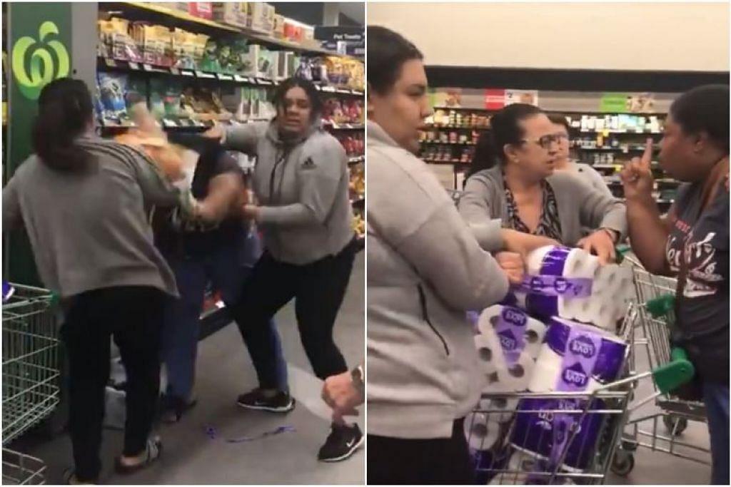 BERGADUH: Video yang dikongsi dalam talian menunjukkan tiga wanita yang terlibat dalam satu perbalahan di sebuah pasar raya di Australia.