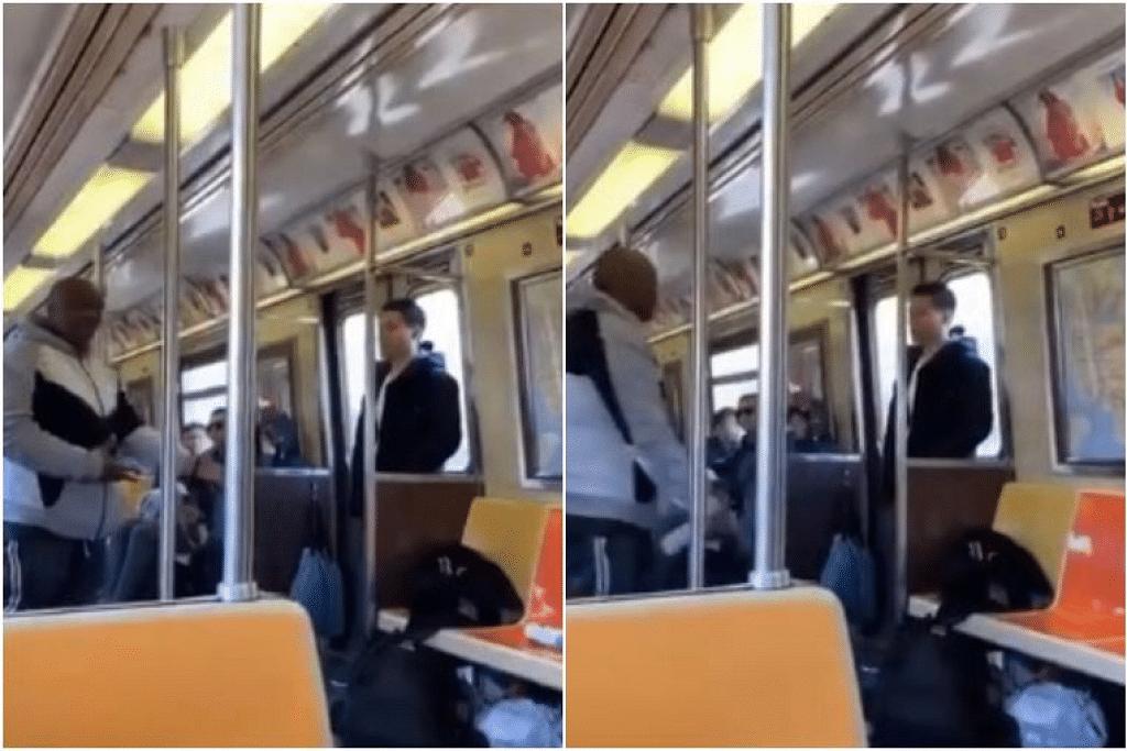 Penumpang Afrika-Amerika mula menjerit dan mengeluarkan kekata kesat disebabkan seorang lelaki Asia berdiri berdekatannya dalam kereta api laluan bawah tanah. - Foto CELIA AU/TWITTER