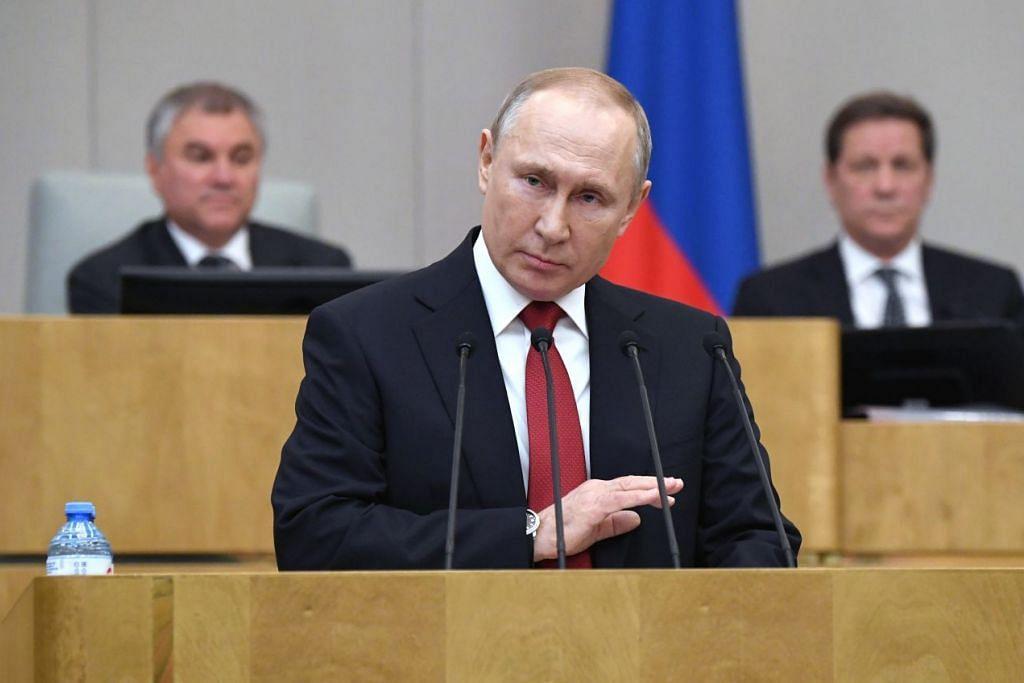 Presiden Russia, Encik Vladmir Putin berucap sewaktu sidang pleno Negeri Duma di Moscow, Russia pada 10 Mac 2020. Foto: EPA-EFE