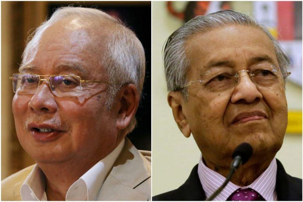 Datuk Seri Najib Razak (kiri) ialah punca kejatuhan kerajaan Pakatan Harapan (PH), kata  Mantan Perdana Menteri Malaysia, Tun Dr Mahathir Mohamad (kanan). - Foto fail.