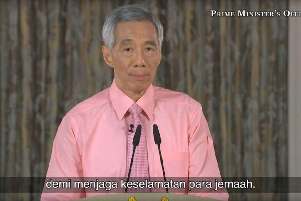 BERWASPADA: PM Lee berkata jemaah harus berwaspada sebelum menghadiri perhimpunan termasuk perhimpunan agama. Foto: YOUTUBE/PEJABAT PERDANA MENTERI