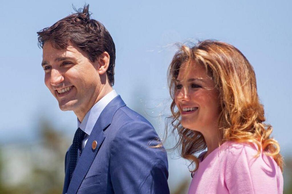 Encik Justin Trudeau dan isterinya Sophie Gregoire Trudeau, yang disahkan positif bagi koronavirus.