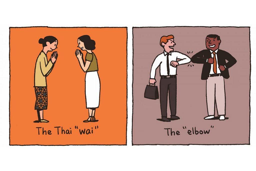 """KISAH-KISAH COVID-19: """"ALTERNATIF BERSALAMAN"""" (Kiri) Salam Thai (The Thai """"wai"""") iaitu mengangkat kededua telapak tangan dan diletakkan dekat wajah sambil membongkok sedikit.  (Kanan) Sentuhan siku(The """"elbow"""")"""