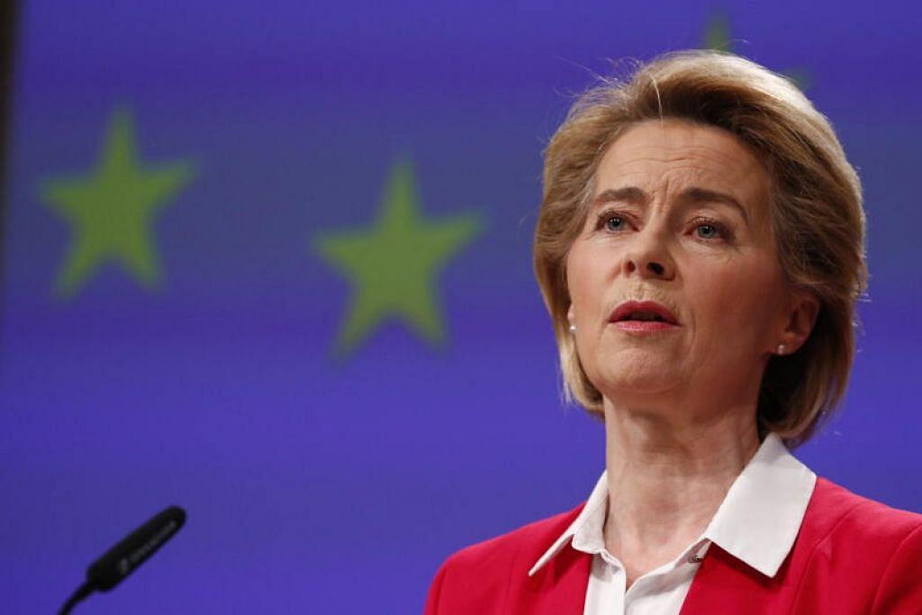 SARANAN KESELAMATAN: Ketua Kesatuan Eropah (EU), Cik Ursula von der Leyenberkata, tanpa penawar, masyarakat perlu membatas pertemuan mereka dengan warga tua.