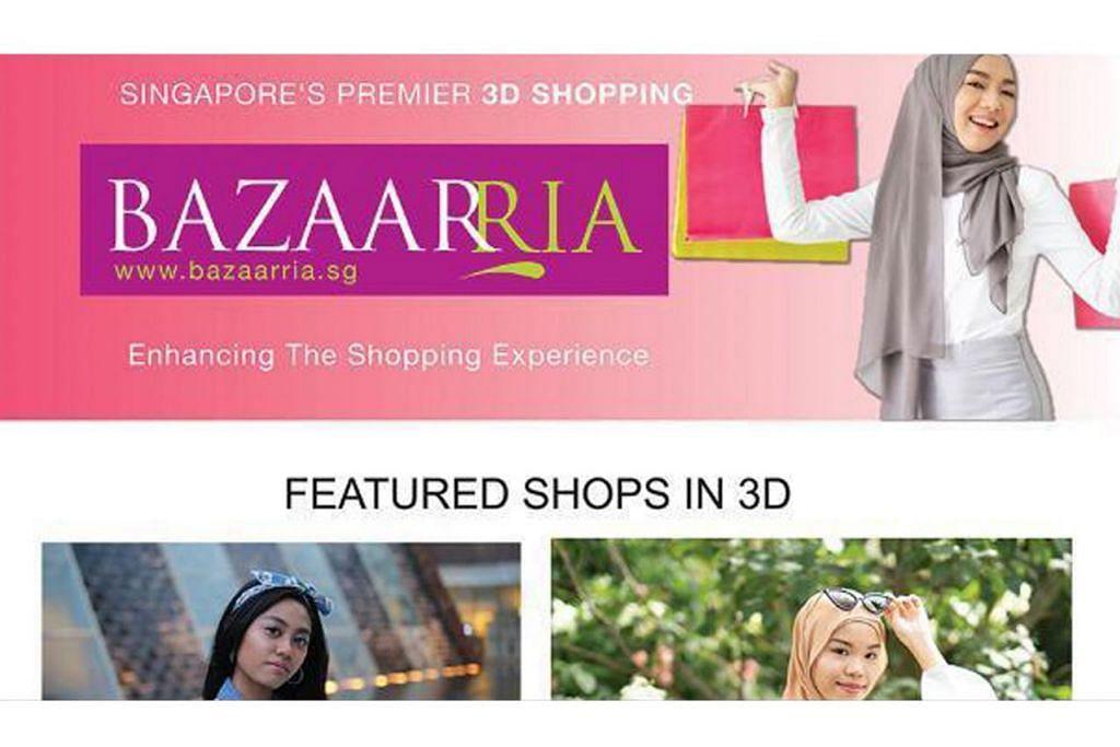 BAZARRIA: Bazar ini diusahakan bersama Vizzio Technologies InfoFabrica Holdings, Mi Planets dengan Dewan Perniagaan dan Perusahaan Melayu Singapura (DPPMS)Tarikan utama BazaarRia ialah keupayaannya menawarkan gerai dalam 3D (tiga dimensi. – Foto BAZAARRIA