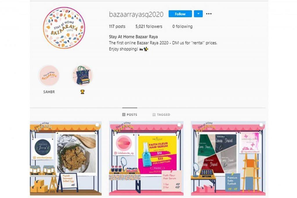 BAZARRAYASG2020: Orang ramai boleh membeli belah menggunakan wadah media sosial Instagram. Laman ini menawarkan pelbagai barangan seperti kuih-muih, baju Raya, sampul duit Raya, aksesori dan perhiasan rumah. – Foto INSTAGRAM BAZAARRAYASG 2020
