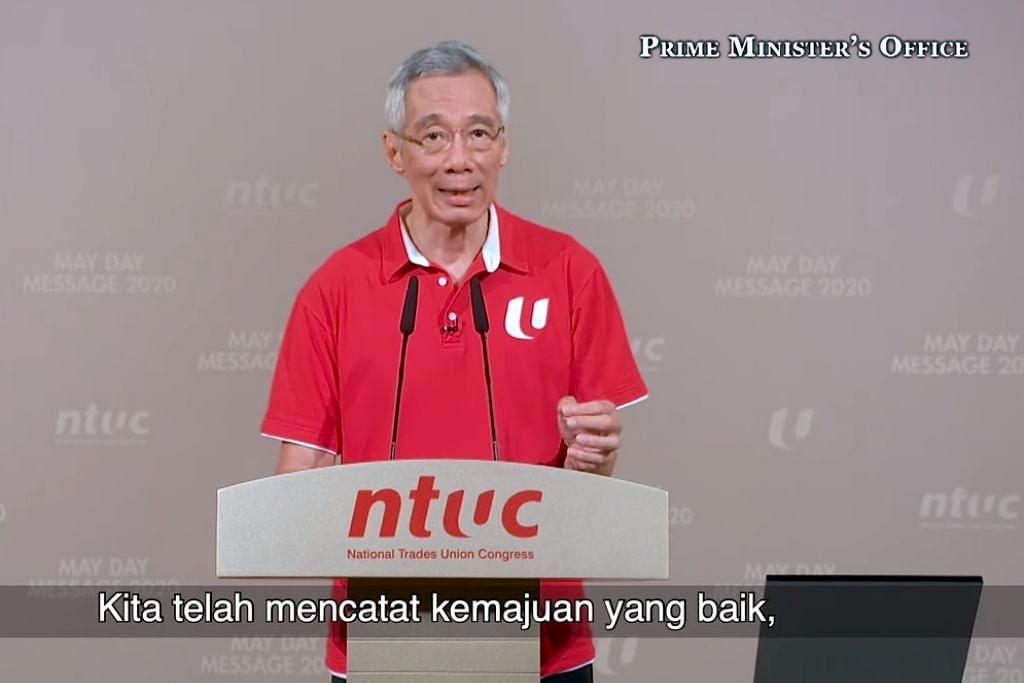 AMANAT HARI BURUH: Perdana Menteri, Encik Lee Hsien Loong, menyatakan dalam jangka masa panjang, penularan virus Covid-19 akan menyebabkan banyak perubahan struktur kepada ekonomi global, termasuk Singapura.