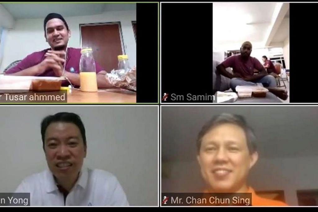 'BUKA PUASA' ZOOM: Encik Chan Chun Sing dan Encik Melvin Yongmenyertai satu sesi buka puasa bersama beberapa pekerja asing menerusi Zoom pada 1 Mei 2020.