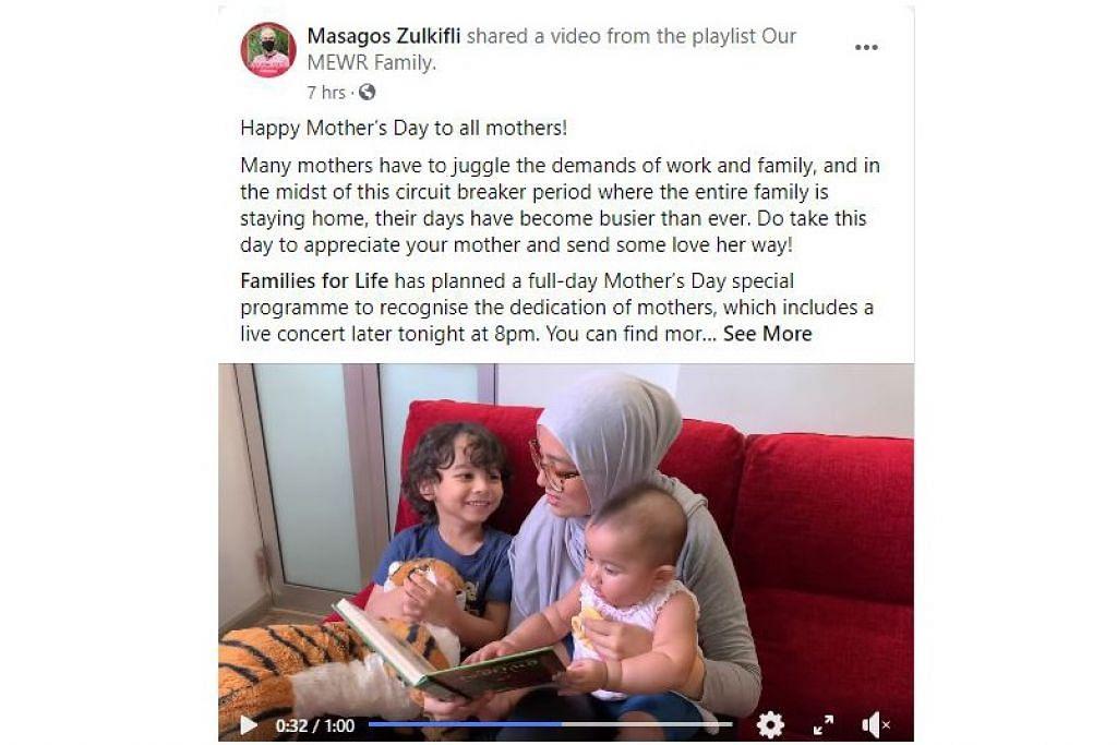 HARI IBU ISTIMEWA: Encik Masagos meluahkan penghargaan dan mengongsi video MEWR khas buat Hari Ibu semalam. - Foto TANGKAP LAYAR FB MASAGOS ZULKIFLI