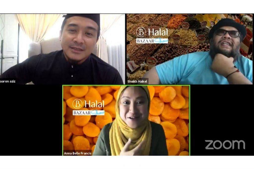 PASARKAN PRODUK DI BAZAR MAYA: Hos B Halal Bazaar Show (dari atas kiri, ikut putaran jam) Aaron Aziz, Sheikh Haikel dan Anna Belle Francis menyemarakkan penjualan dalam talian sepanjang Ramadan ini. - Foto B. HALAL / FACEBOOK