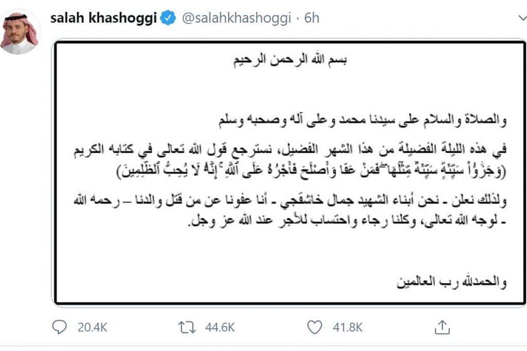 KENYATAAN DI TWITTER: Anak mangsa pembunuhan kejam di Istabul, Salah Khashoggi, memuatnaikkan kenyataan di akaun Twitternya, tentang pendirian keluarga mereka mengampuni pembunuh ayahnya, Jamal Khashoggi, penulis pojok akhbar The Washington Post, pada 2 Oktober lalu.