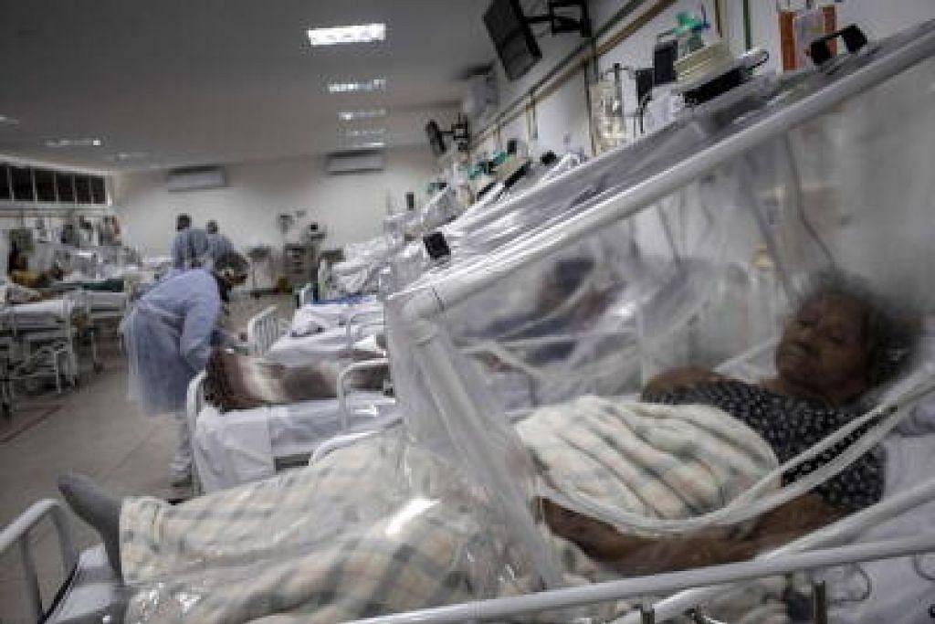 PESAKIT: Pesakit Covid-10 mendapatkan rawatan di sebuah hospital d Brazil. Sejauj ini negara itu  mempunyai lebih daripada 100,000 kes yang disahkan.