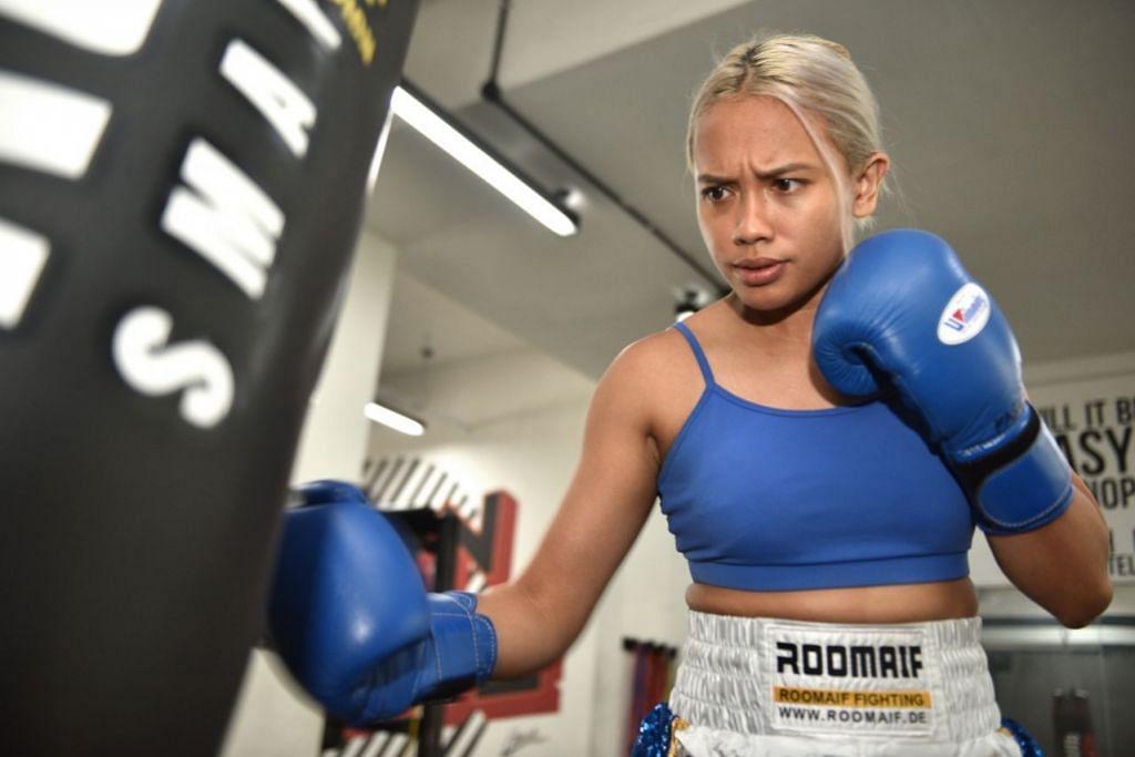 BUAT PENYESUAIAN: Petinju profesional negara Efasha Kamarudin akan mencari cara lain untuk meneruskan latihannya kerana ada ciri latihan tidak dibenarkan, seperti sparring. - Foto fail BH