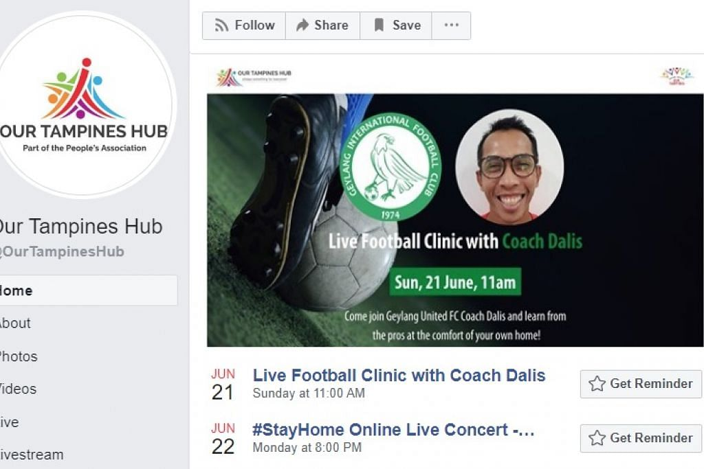 """AKTIVITI MENARIK: OTH akan mengadakan Klinik Bola Sepak bersama 'Coach Dalis' pada 11 pagi Ahad ini, yang akan ditayangkan secara langsung di Facebook mereka. Ini diikuti dengan Konsert Duduk Di Rumah Dalam Talian bersama Charles """"Stitch FM"""" Wong, pemenang ke-4 adubakat Singapore Idol, yang akan berlangsung pada 8 malam, Isnin ini (22 Jun)."""