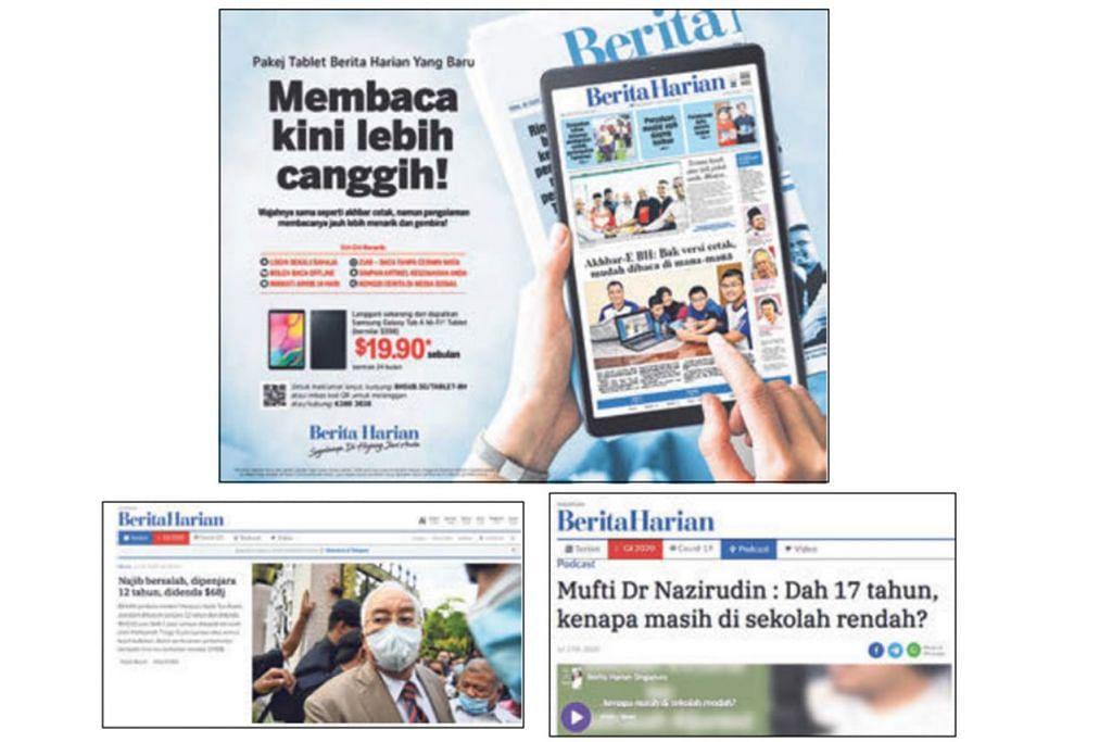 KEMAS DAN PELBAGAI: Berdasarkan data dan juga tinjauan yang dilakukan pasukan pereka bagi laman baru BH.sg itu membahagikan laman tersebut kepada tiga seksyen utama - Terkini, podcast dan video - mencerminkan tiga kandungan utama yang dicari pembaca BH.