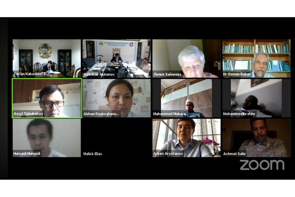 WACANA PEMIKIRAN SARJANA: Persidangan antarabangsa dalam talian yang membincangkan sumbangan tokoh falsafah dan saintis Al-Farabi yang dihadiri lebih 200 peserta dari 16 negara termasuk sarjana, wartawan dan tokoh masyarakat yang dianjurkan Kedutaan Kazakhstan di Singapura, Malaysia dan Indonesia serta Universiti Nasional Kazakh Al-Farabi pada 21 Julai lalu. Antara penceramah termasuk Profesor Datuk Dr Osman Bakar (Malaysia), Dr Tuleubekov Assyl (Kazakhstan) dan Dr Humaidi M. Ud (Indonesia). - Foto KEDUTAAN KAZAKHSTAN