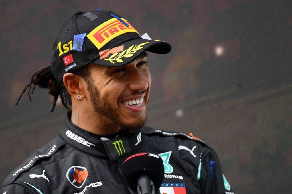 MASIH BELUM BERPUAS HATI: Hamilton berkata kemenangan memecah rekod ini membakar tekadnya untuk terus berlumba dan mengorak perubahan di dunia. - Foto AFP