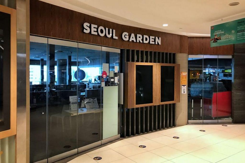 DIARAH TUTUP: Cawangan Seoul Garden di Tampines Mall diarah tutup 10 hari setelah didapati gagal mematuhi langkah pengurusan selamat.