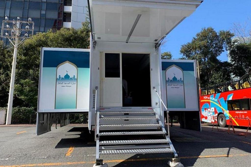 SOLAT BELAKANG TRAK: Masjid Mobil, sebuah trak yang bahagian belakangnya dibuka untuk menjadi ruang solat, akan disediakan di beberapa tempat di luar acara Sukan Olimpik Tokyo.