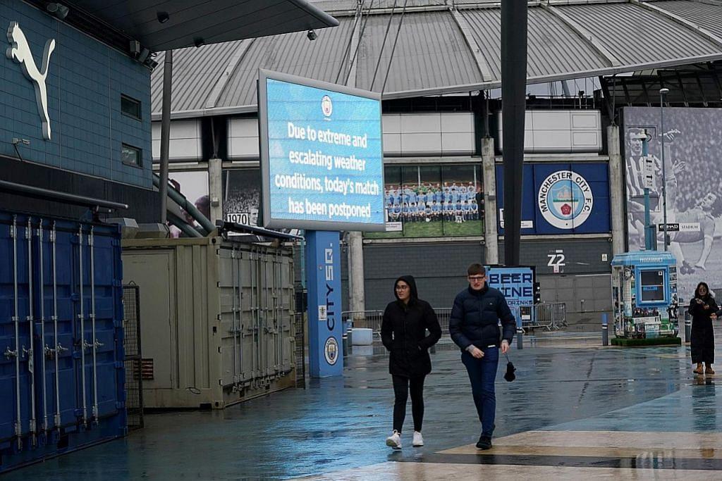 Taufan Ciara buat aksi City, West Ham ditangguh