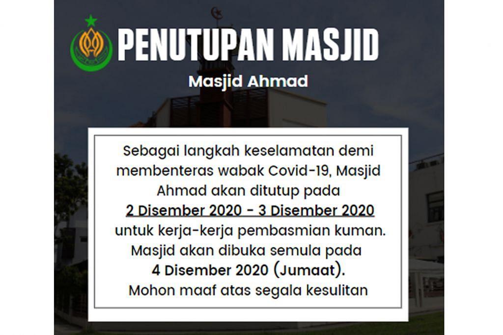 BERITA Kerja pembersihan tambahan di Masjid Ahmad demi keselamatan jemaah