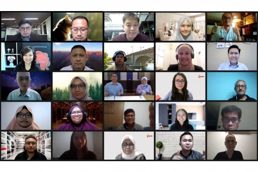 SESI DIALOG: Dr Faishal Ibrahim dan Cik Rahayu Mahzam (gambar tengah) menyertai sesi kedua 'Perbincangan untuk Bangkit Lebih Kukuh Singapura Bersatu' atau Singapore Together Emerging Stronger Conversations bagi masyarakat Melayu/Islam menerusi CiptaSama@M³ melalui Zoom kelmarin. - Foto MCCY