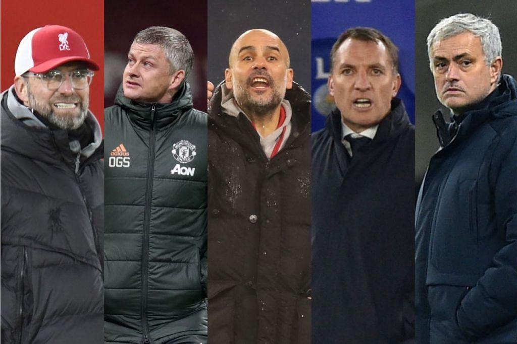 RASAKAN DEBARAN PERSAINGAN: (Dari kiri) Jurgen Klopp, Ole Gunnar Solskjaer, Pep Guardiola, Brendan Rodgers dan Jose Mourinho. - Foto-foto AFP, EPA-EFE
