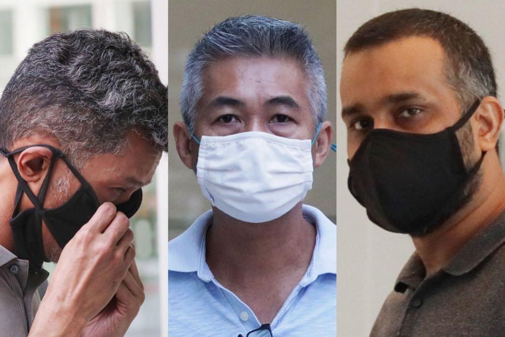 HADAPI TUDUHAN RASUAH: (Dari kiri) Juandi Pungot, Richard Goh Chee Keong, dan Muzaffar Ali Khan Muhamad Akram dituduh menyogok pekerja syarikat pemeriksa yang memeriksa kapal yang menerima bekalan minyak daripada Shell. - Foto-foto BH oleh KELVIN CHNG