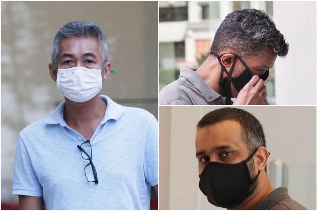 TIGA BEKAS PEKERJA SHELL: Richard Goh Chee Keong, Juandi Pungot dan Muzaffar Ali Khan Muhamad Akram tampil di mahkamah daerah pada 23 Februari. - Foto STRAITS TIMES