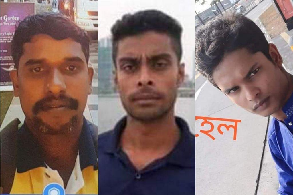 TRAGEDI KEBAKARAN TUAS: (Dari kiri) Encik Marimuthu, Encik Anisuzzaman dan Encik Shohel merupakan tiga pekerja asing yang terkorban dalam kebakaran di Tuas minggu lalu. - Foto-foto ITSRAININGRAINCOATS