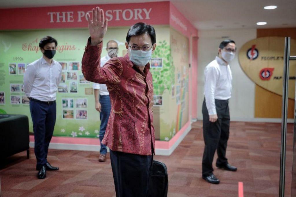 DPM Heng Swee Keat tiba di ibu pejabat PAP pada 9 April 2021.