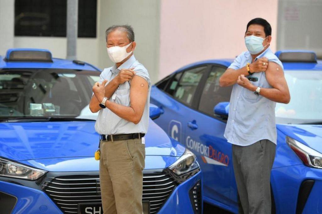 SUDAH DIVAKSIN: Hampir separuh pemandu teksi dan kereta sewa privet telah mengambil suntikan lengkap dua dos vaksin Covid-19, kata Menteri Pengangkutan Ong Ye Kung pada 10 April 2021.