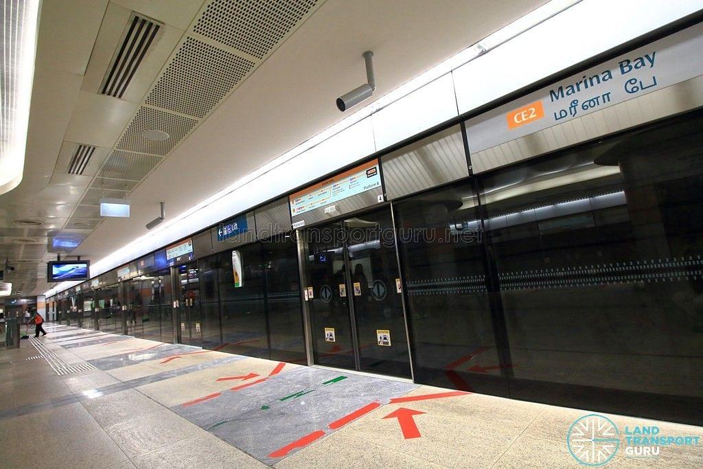 Platform di stesen Marina Bay di Laluan Circle akan ditutup dari 15 Mei hingga 1 Jun untuk membolehkan kerja-kerja mengeluarkan sebahagian trek yang tidak digunakan. - Foto Internet/Land Transport Guru