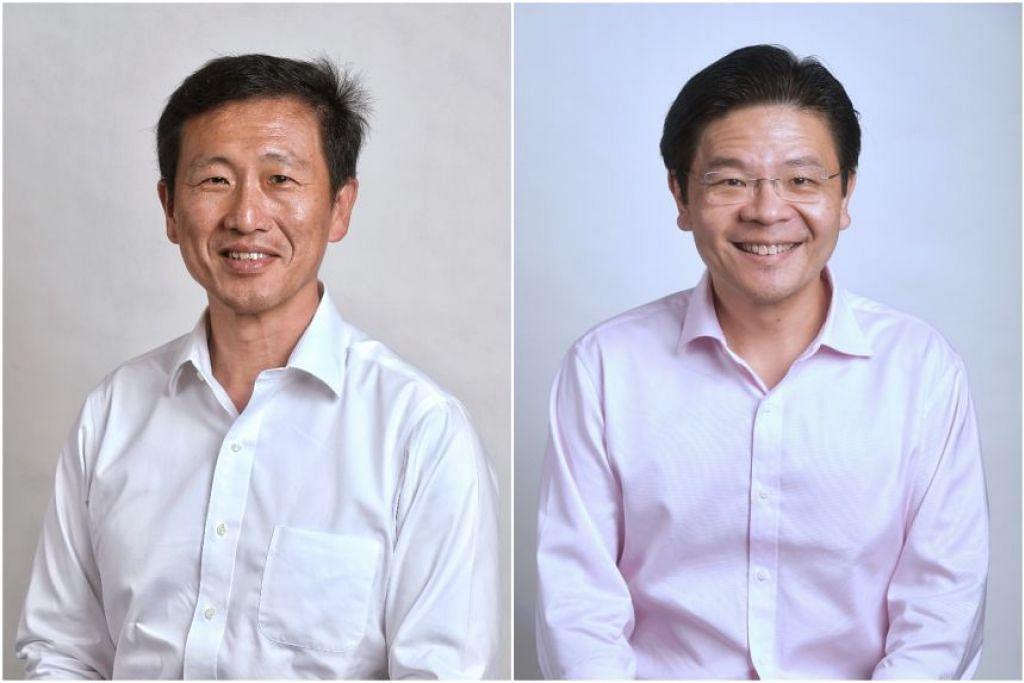 PENGERUSI BERSAMA PASUKAN BERTINDAK COVID-19: Encik Ong Ye Kung (kiri) akan mengambil-alih tugas Encik Gan Kim Yong sebagai pengerusi bersama pasukan bertindak berbilang kementerian yang menangani Covid-19. Beliau akan memegang jawatan ini bersama Encik Lawrence Wong. - Foto BH oleh KUA CHEE SIONG