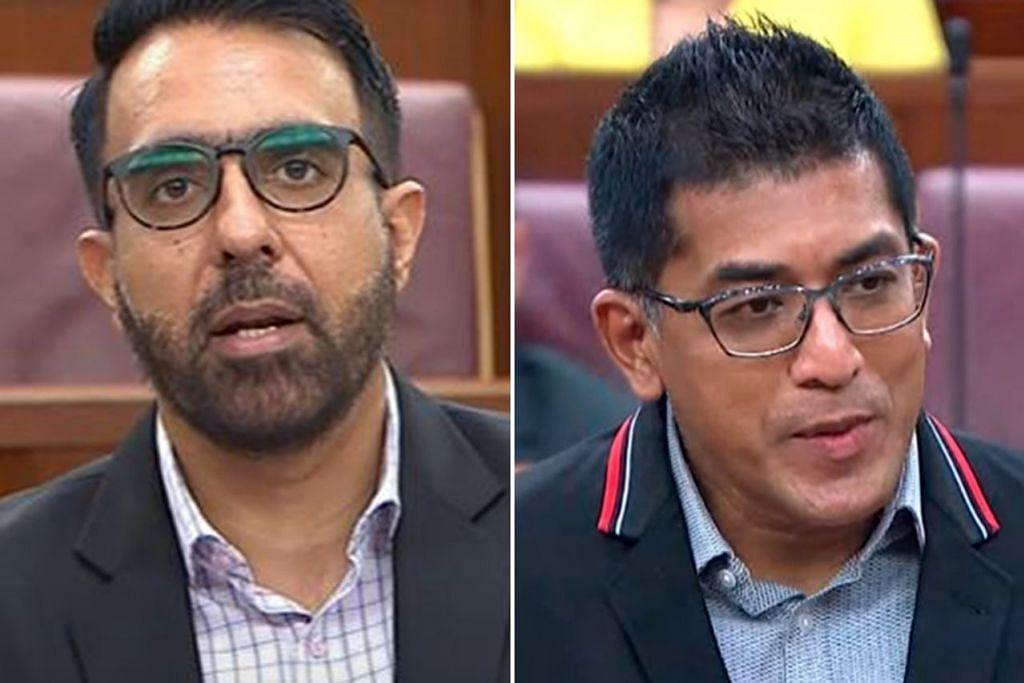 CAPAI KESEIMBANGAN: Encik Pritam Singh (kiri) dan Encik Darryl David kemukakan soalan tentang kebertanggungjawapan dan kebebasan editorial di bawah CLG baru SPH. - Foto-foto MCI, GOV.SG