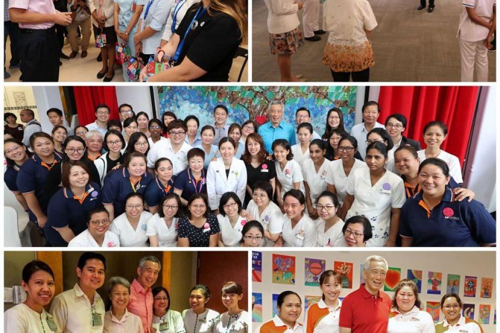 PM Lee bergambar dengan para jururawat dari tahun-tahun lepas. - Foto FACEBOOK/ LEE HSIEN LOONG, MCI