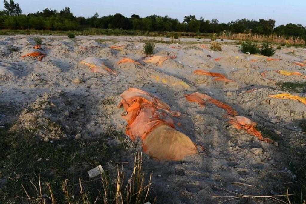 TERBIAR BEGITU SAHAJA: Tubuh manusia yang disyaki mangsa Covid-19 ditanam dalam kawasan perkuburan cetek di tebing sungai Ganges di Rautapur Ganga Ghat di Unnao. - Foto SANJAY KANOJIA / AFP