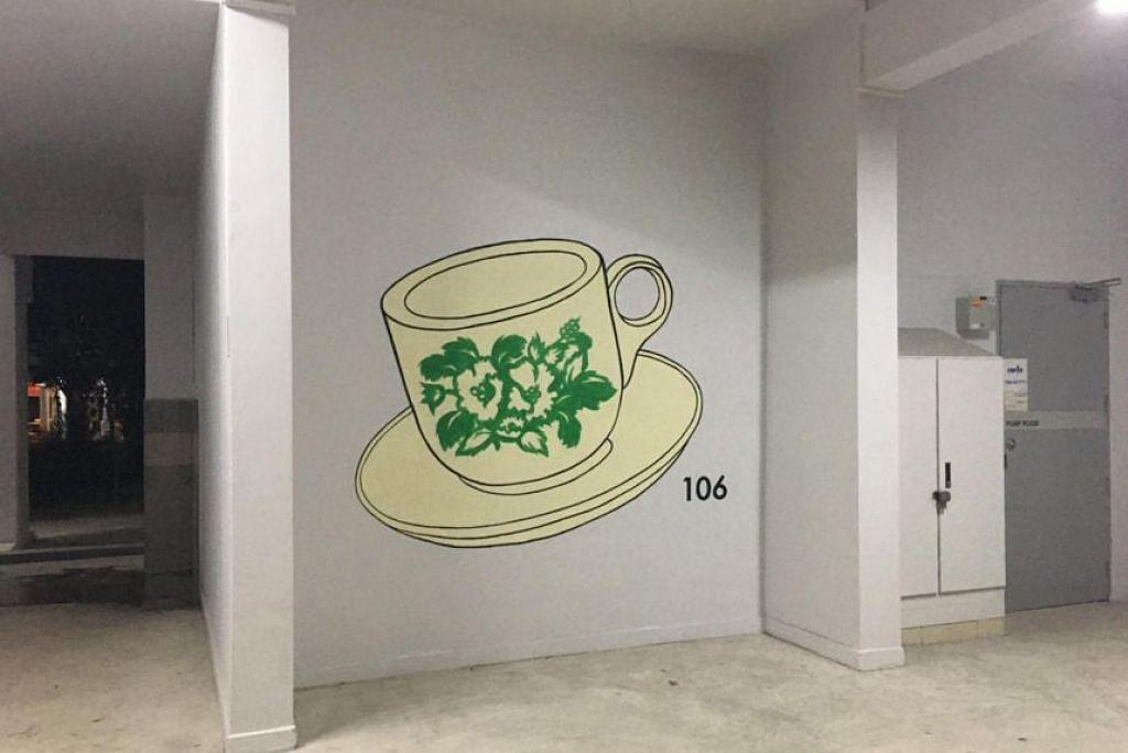 37 tembok di 10 blok flat HDB di estet kejiranan Kebun Baru telah dihias dengan lukisan berbeza-beza bagi membantu penduduk di situ yang semakin menua mencari jalan pulang ke rumah mereka. - Foto-foto Persatuan Penyakit Alzheimer