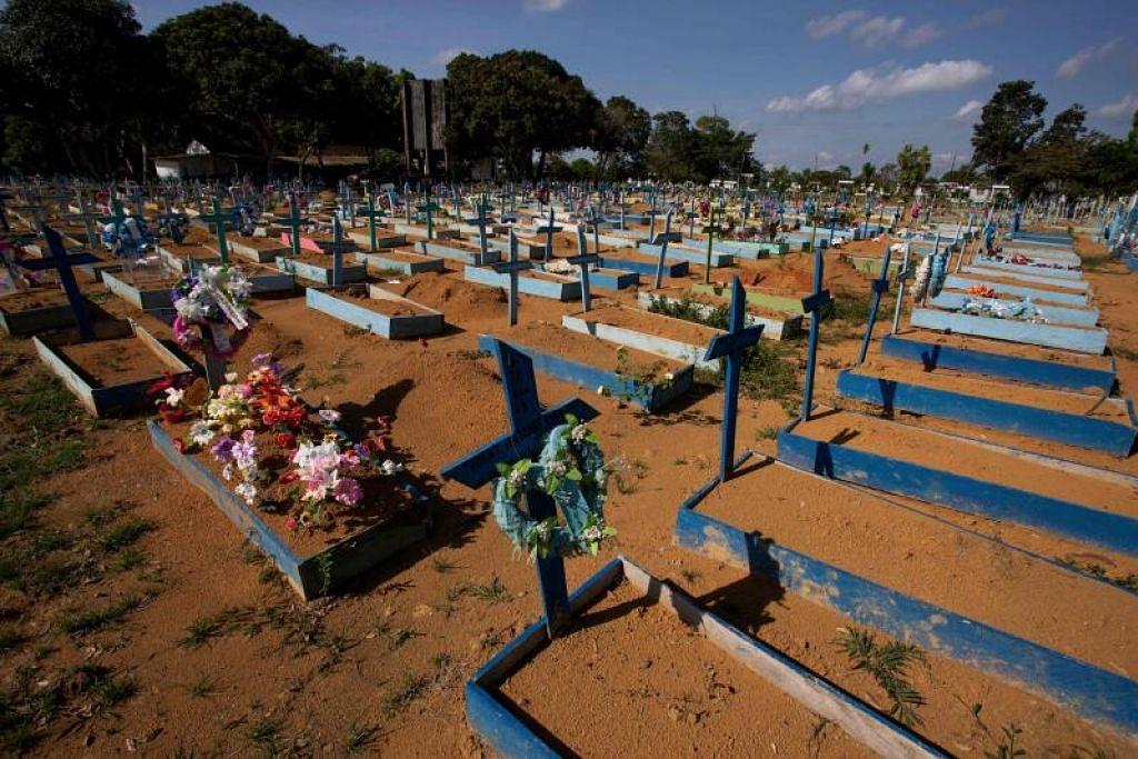 ANGKA KEMATIAN MENGERIKAN: Brazil sudah melepasi angka kematian Covid-19 sebanyak setengah juta atau 500,000 individu. Ini adalah tanah perkuburan mangsa Covid-19 di Perkuburan Nossa Senhora di Manaus. - Foto AFP/MICHAEL DANTAS