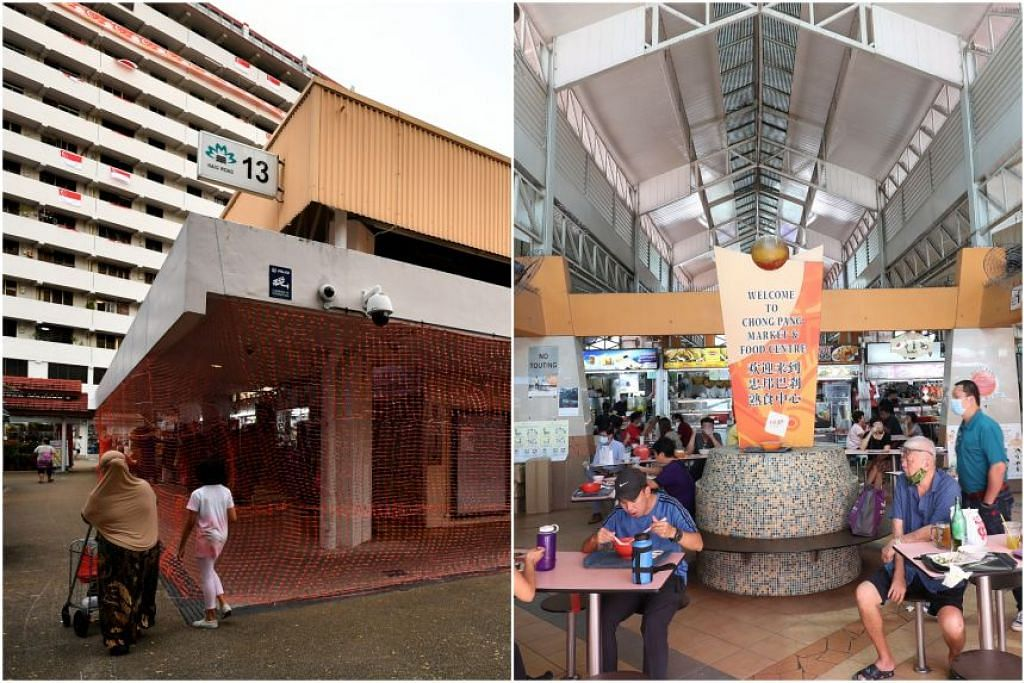 (kiri) Pusat makanan dan pasar Haig Road, dan (kanan) Pasar Chong Pang ditutup sehingga 4 Ogos selepas 35 kes Covid-19 dikesan.